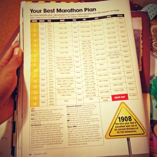 A sneak peek at the RW 16-week marathon training plan.